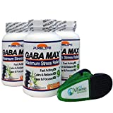 Pure Life Gaba-Max Gabatrol Stress and Anxiety Formula, Mango Flavor, with Bag Clip, 360 grams Powder, 3 Pack