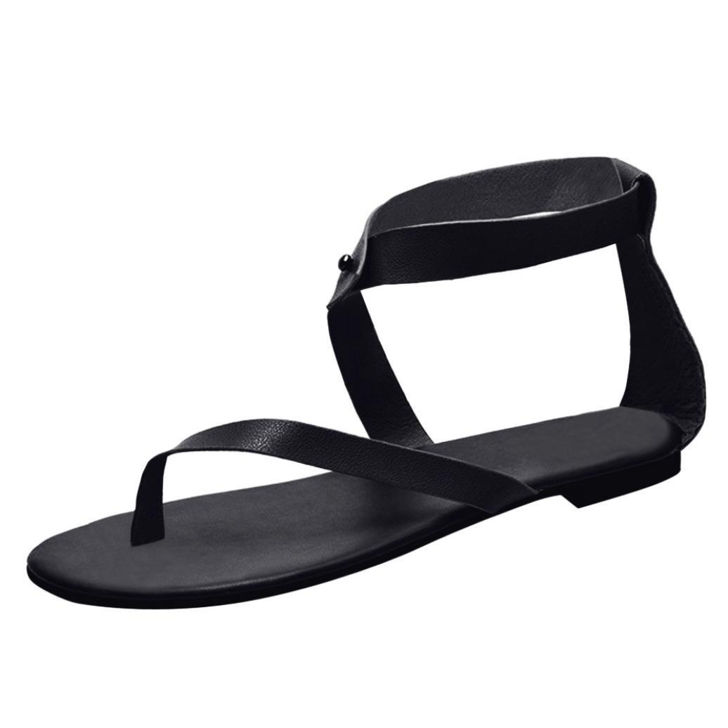 Sunbona Women Flat Gladiator Sandals Ladies Summer Ankle Strap Thong Flip Flops Casual Beach Shoes (US:8.5(RU/EU/CN41), Black)