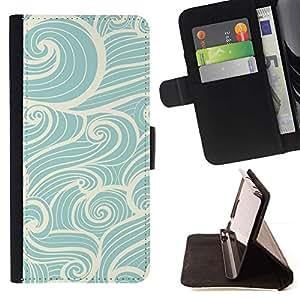 Momo Phone Case / Flip Funda de Cuero Case Cover - Azul blanco del arte Dibujo viento mágico - Samsung Galaxy J3 GSM-J300
