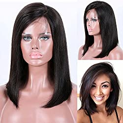Premier Bob Wigs Human Hair Lace Front Wigs Brazilian Remi Hair Short Human Hair Wigs with Baby 150% Density, 4.5 inch Deep Part Lace Front Wigs 12 inch, 1B# off Black