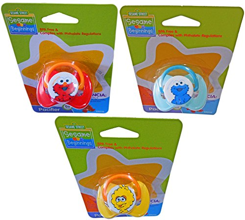 (Sesame Beginnings 0+ Month Pacifiers With Characters Big Bird, Elmo & Cookie Monster)