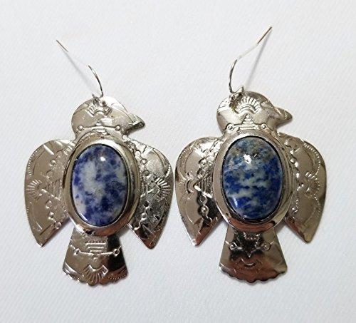 Bird Lazuli Lapis (Southwestern Thunderbird Gemstone Lapis Lazuli Silver Earrings One of a Kind)