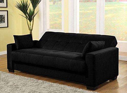 Pearington Mia Microfiber Sofa Sleeper Bed & Lounger with Storage, Black