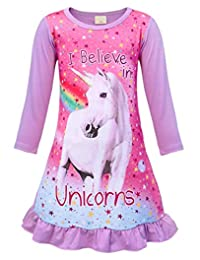 AmzBarley Unicorn Girls Kids Long Sleeve Pajama Nightgown Dress