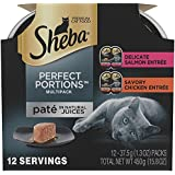 Sheba PERFECT PORTIONS Paté Multipack Delicate Salmon and Savory Chicken Grain Free Cat Food 2.6 Ounces (6 Twin Packs)
