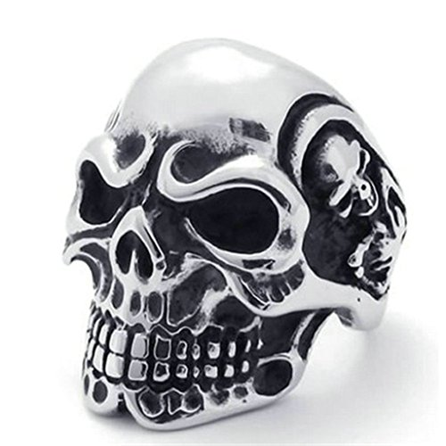 Nose'n Around Wolf Nose (Stainless Steel Ring for Men, Skull Ring Gothic Silver Band 31MM Size 11 Epinki)