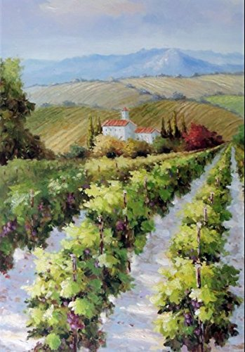 100% Hand Painted Tuscany Italian Vineyard Farm Estate Home Valley Canvas Home Wall Art Oil Painting by Well Known Artist, Framed, Ready to Hang