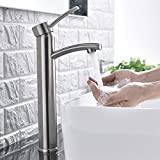 Comllen Contemporary Single Handle Brushed Nickel Tall Vessel Sink Bathroom Faucet, Vessel Faucet Brushed Nickel