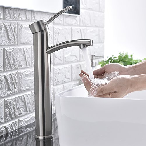Cheap  Comllen Contemporary Single Handle Brushed Nickel Tall Vessel Sink Bathroom Faucet, Vessel..