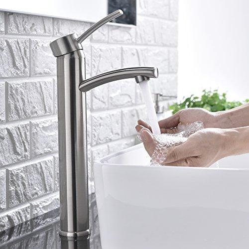 Comllen Contemporary Single Handle Brushed Nickel Tall Vessel Sink Bathroom Faucet, Vessel Faucet Brushed Nickel by Comllen