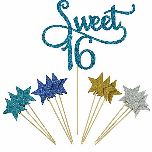 Shxstore Blue Monogram Sweet 16 Cake Topper Glitter Star Cupcake Picks For 16th Birthday Anniversary Party Decoration Supplies (Sweet 16 Party Supplies Boy)