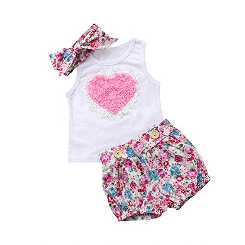 yannzi Toddler Baby Girls Sister 3D Floral Heart Vest Short Ruffle Lace Dress Set with Headband 3PCS (Little Sister, 12-18 Months)