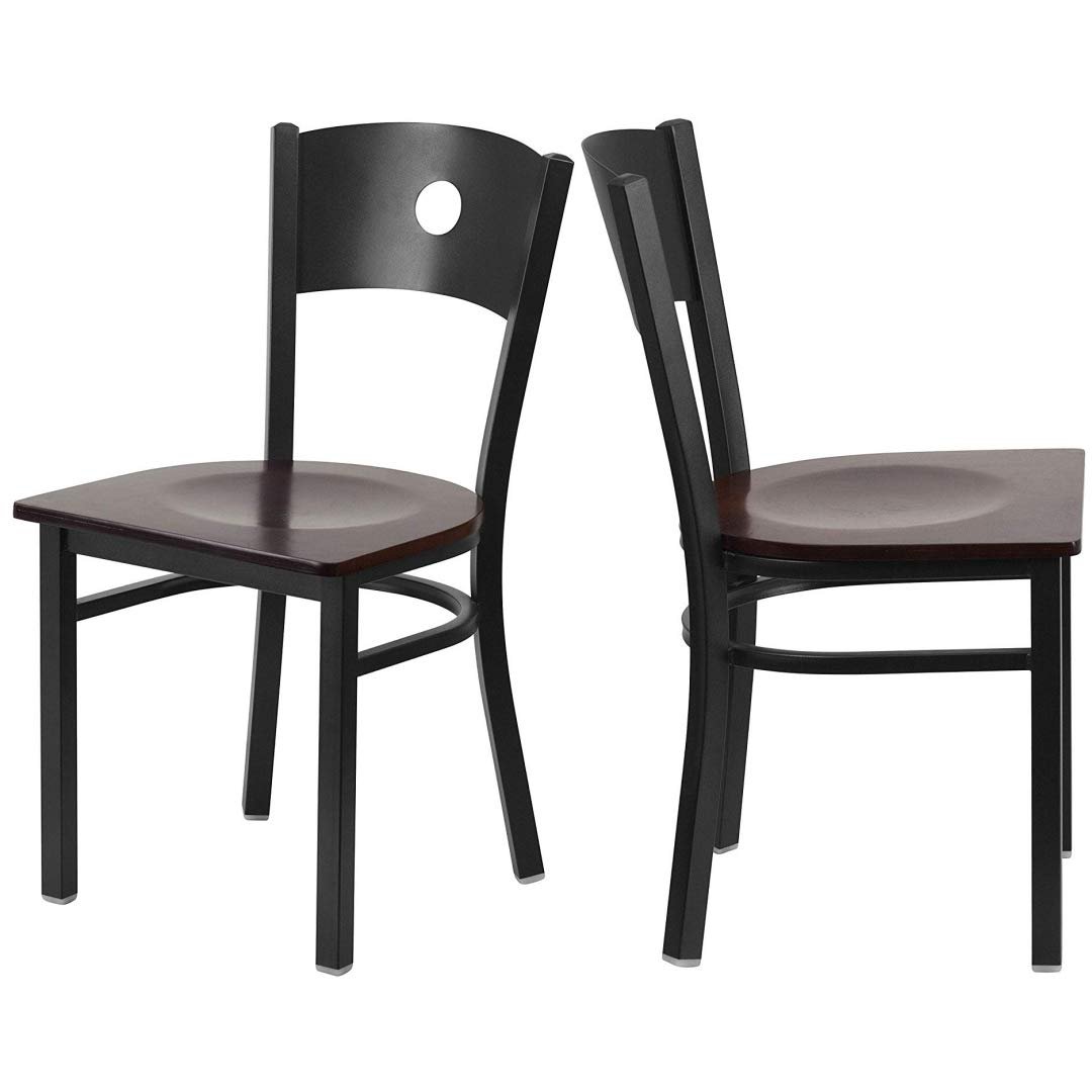 Modern Style Metal Dining Chairs Bar Restaurant Commercial Seats Circle Back Design Black Powder Coated Frame Home Office Furniture - Set of 2 Walnut Wood Seat #2191