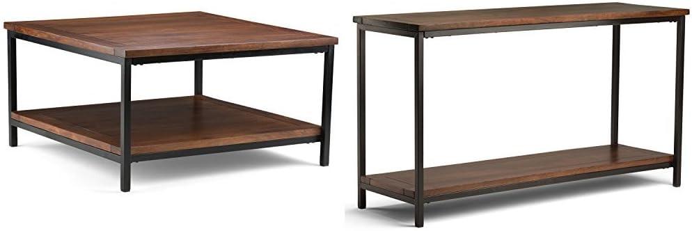 Simpli Home Skyler Square Coffee Table, Dark Cognac Brown + Simpli Home Skyler Console Sofa Table, Dark Cognac Brown :Bundle