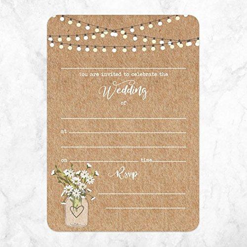 stile:/rustico confezione da 10 Inviti di nozze /& RSVP design: fiori in vaso di vetro