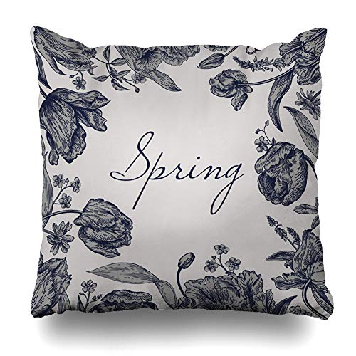 Ahawoso Throw Pillow Cover Celebration Bloom Spring Flowers Parrot Tulips Vintage Flora Blossom Botanical Bouquet Classic Design Home Decor Pillow Case Square Size 20 x 20 Inches Zippered Pillowcase ()