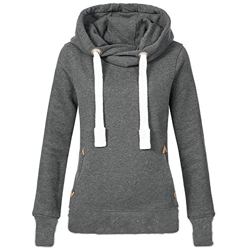 CUCUHAM Women Plus Size Long Sleeve Solid Sweatshirt Hooded Pullover Tops Shirt(Gray,Small) -