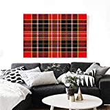 """Warm Family Plaid Modern Canvas Painting Wall Art Vertical and Horizontal Lines Tartan Backdrop Scottish Fashion and Culture Inspired Art Stickers 24""""x20"""" Multicolor"""