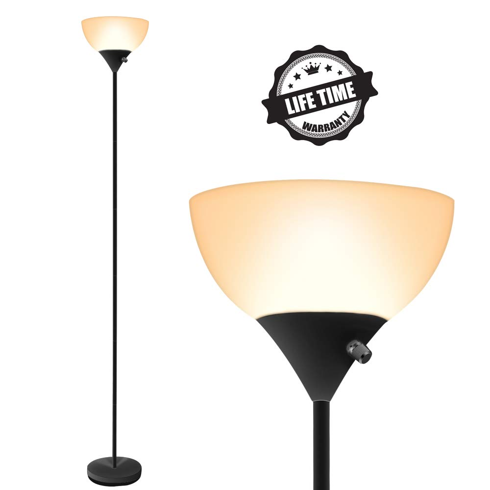 Floor Lamp, LED Lights, 70inch Modern Standing Floor Lamps, 9W Energy Saving, 40000h Long Lifespan, 3000K Warm White, Torchiere Floor Lamps for Bedrooms, Living Room, Office, Reading & Working