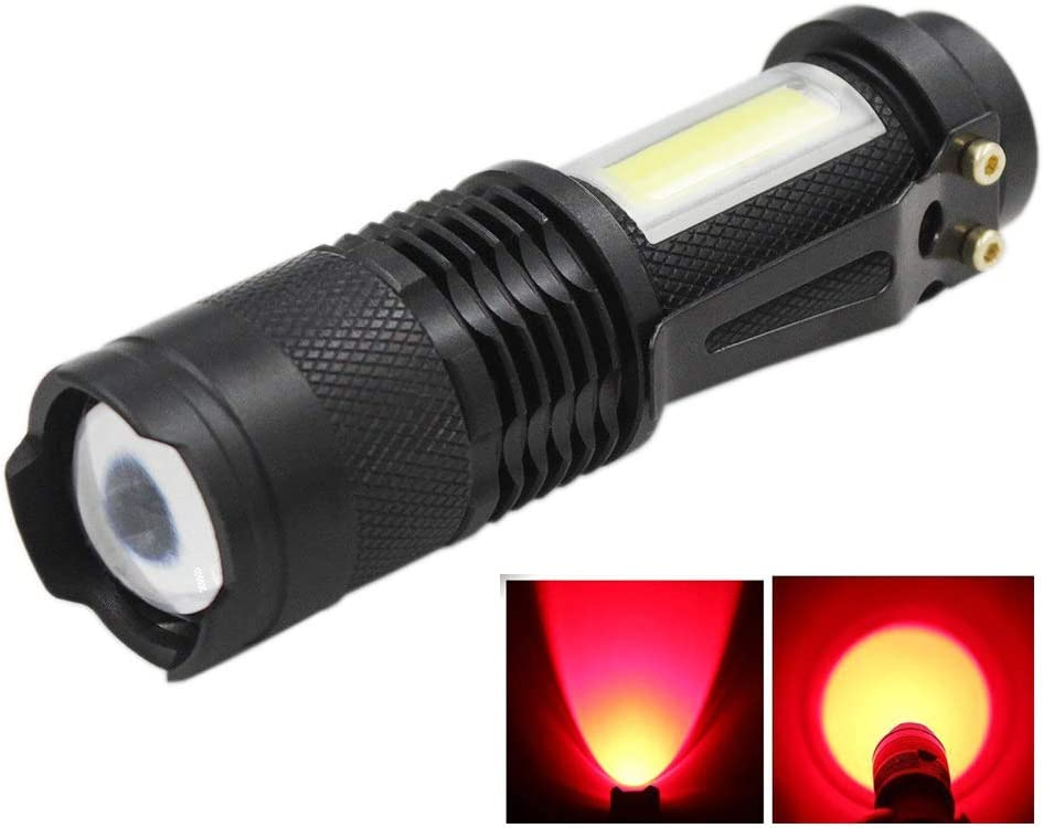 JOYLIT LED COB Flashlight White Light Everyday Flashlights, 620nm Red LED Torch Lamp With Clip, Adjustable Focus Handheld Tactical Lights for Kids Camping Emergency Travel Hiking Portable MINI Light