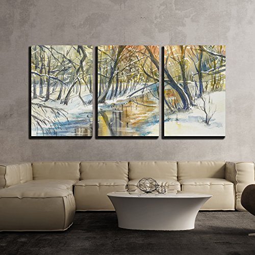wall26 - 3 Piece Canvas Wall Art - Watercolor Painting of Winter Landscape: River in Fores During Sunset. - Modern Home Decor Stretched and Framed Ready to Hang - 24