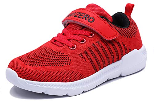 (Vivay Girls Sneakers Lightweight Breathable Straps Kids Tennis Shoes for School (Red, Size 11 Little Kid))