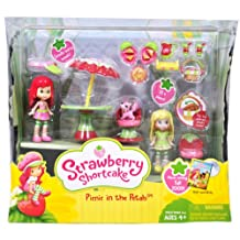 Strawberry Shortcake Scented 3 Inch Doll Playset - Picnic in the Petals with Scented Mini Strawberry Shortcake, Scented Mini Lemon Meringue, Mini Custard the Cat, Dress, Skirt, Visor, Table with Umbrella, 2 Chairs, 2 Sandwiches with Plates, Pie, Pitcher, 2 Smoothies, Tray and Flip Top Basket