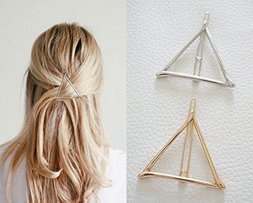 Minimalist Dainty Gold Silver Hollow Triangle Geometric Metal Hairpin Hair Clip Clamps Accessories Barrettes Bobby Pin Ponytail Holder Statement Womens GIFT Headwear Headdress Styling Jewelry