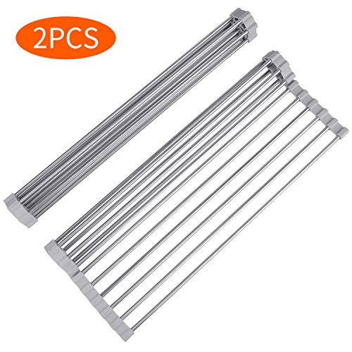 Roll Up Sink Drying Rack, Himetsuya 2 Pack Multipurpose Stainless Steel Collapsible Dish Drying Rack Over the Sink, Spacing-saving Dish Drying Mat,17.5