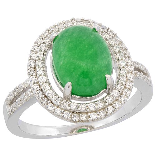 Sterling Silver Oval Green Serpentine Ring Double Halo CZ Rhodium Finish, 5/8 inch wide, size 9