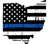 Ohio tattered thin blue line us flag honoring our men & women of law enforcement car symbol sticker decal die cut vinyl window computer - Made and Shipped in USA