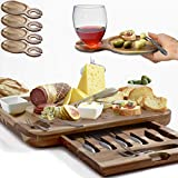 Exquisite Cheese Board & Utensils Gift Set - Extensive Serving Set -X- Large Acacia Board (15.75'x13') & 6 Cheese Knives & 6 Appetizer Forks & 3 Ceramic Dishes & 4 Wine Appetizer Plates