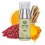 Skin Bleaching Turmeric - Eye and Face Serum with Kojic and Hyaluronic Acid by PHB Ethical Beauty. A 2-IN-1 Organic Serum for Face Brightening, Whitening & Firming. Reduces Dark Circles, Eye Puffiness and Wrinkles. 30 ml