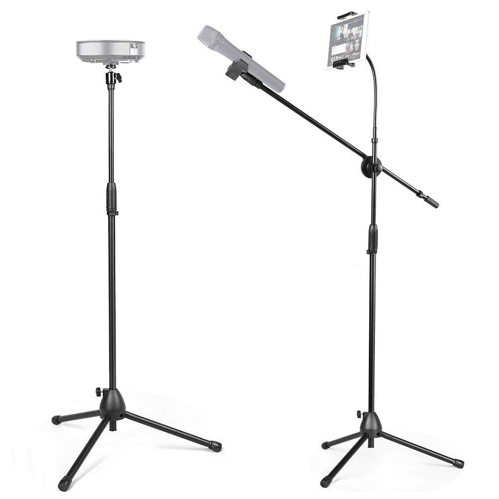 3 in 1 Tablet and Microphone Stand Kit, Portable Projector Stand with 360° Panorama Ball Head and Cell Phone Stand for Photo and Video [Includes Carrying Bag]