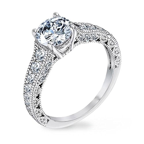 Edge Engagement Ring Setting - Samie Collection 1.61ctw CZ Solitaire Milgrain Edge Vintage Wedding Engagement Ring in Rhodium Plating