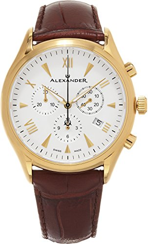 Alexander Heroic Pella Men's Multi-function Chronograph Brown Leather Strap Yellow Gold Plated Swiss Made Watch - Hours Center Holiday Independence