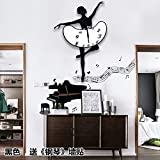 BABYQUEEN European Creative Silence Dance Music Wallclock Bedroom Living Room Simple Personality Art Decorative Clock Black Ballet Send?Piano?Wall Stickers