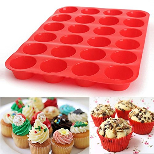 Silicone 24 Cavity Mini Muffin Cupcake Baking Pan Handmade Cake Decoration DIY Mold Chocolate Cookies Candy Mold Soap Cookies Bakeware Pan Tray Mould (Red)