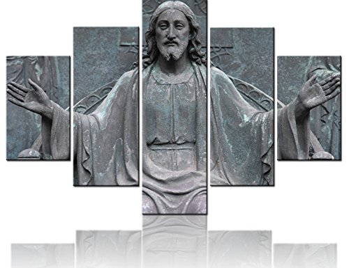 (TUMOVO Extra Large Wall Art Retro Stone Sculpture of Jesus Paintings 5 Panel Canvas Rustic Pictures Modern Artwork Home Decor for Living Room Giclee Framed Gallery-wrapepd Ready to Hang(60''Wx40''H))