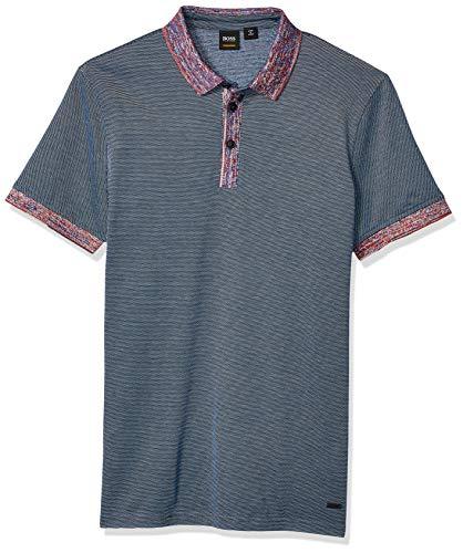 BOSS Orange Men's Punch Short Sleeve Polo Shirt, Dark Blue, L