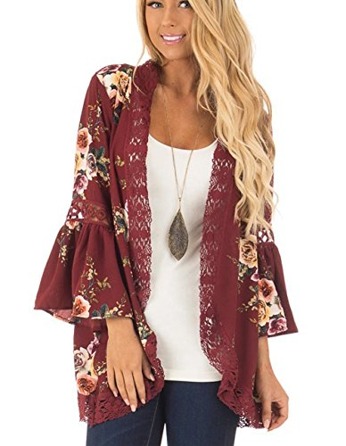 Womens Floral Loose Bell Sleeve Kimono Cardigan Lace Patchwork Cover up Blouse Top (S, Wine Red) - Crochet Trim Womens Top