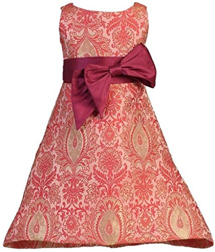 Little Girls Dupioni Bow Brocade Two Tone Special Flowers Girls Dresses Red 5