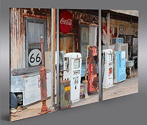 Bild Bilder auf Leinwand US Tankstelle Route 66 Vintage 3p XXL ...