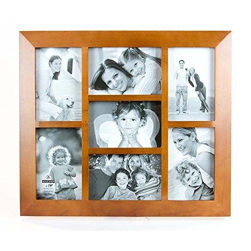 Picture Frame Burns Wood - Malden International Designs Berkeley Beveled Edge Wood Collage Picture Frame, 7 Option, 7-4x6, Walnut