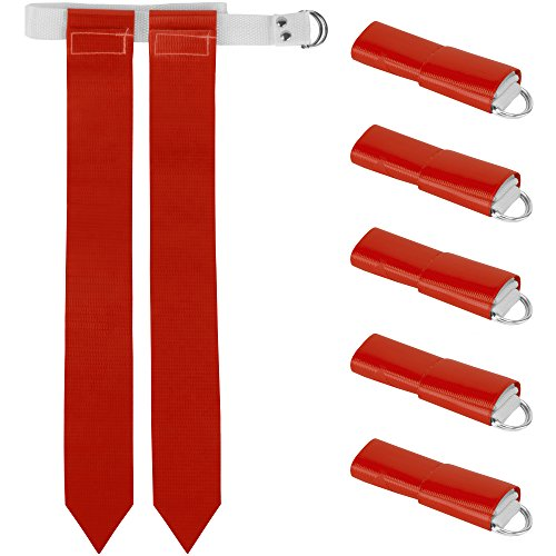 (Crown Sporting Goods 6-Pack Flag Football Team Set - Includes 6 Belts with 12 Flags, Accessories for Flag & Touch Games, Practices, Training (6, Red))