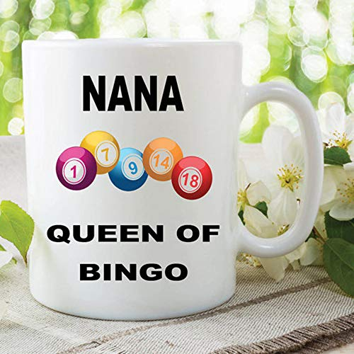 Bingo Mug Nana Mug Queen Of Bingo Gift For Grandma Birthday Novelty Mug Cup Bingo Lover Gifts Christmas Mothers Day Funny Mug 11oz 15oz