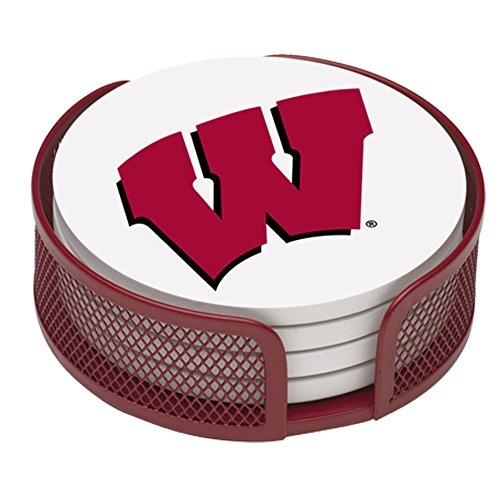 Thirstystone VUWI-HA22 Stoneware Drink Coaster Set with Holder, University of Wisconsin