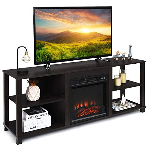 """Tangkula 2-Tier Fireplace Stand TV Stand, Entertainment Television Stands, Modern Entertainment Centers with Adjustable Shelves, Suitable for 18"""" Electric Fireplace (Not Included)"""