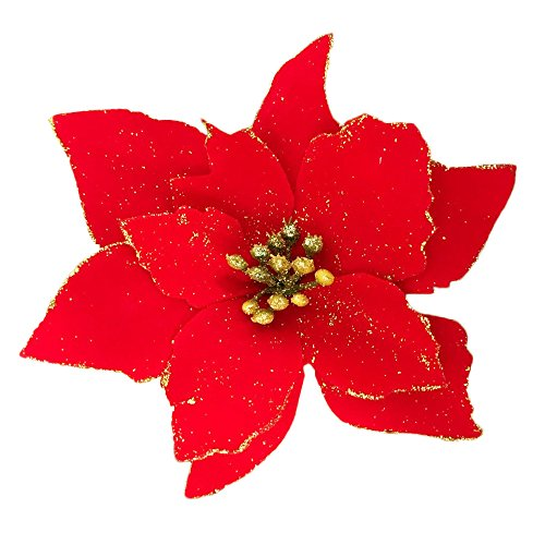 Christmas Poinsettias - Christmas Glitter Poinsettia Christmas Tree Ornaments Pack Of 12 (Red)