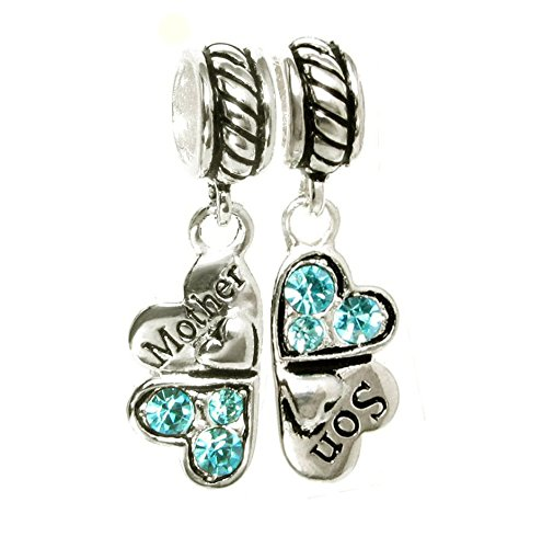 Sterling Silver Rhinestone 'Mother Son Love' Heart European Bead Charm by Queenberry (Image #2)